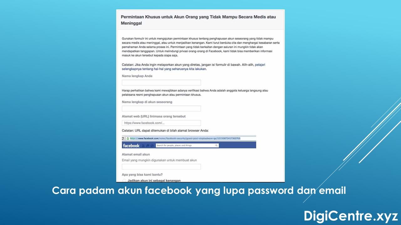 Cara Padam Akaun Facebook Yang Lupa Password dan Email