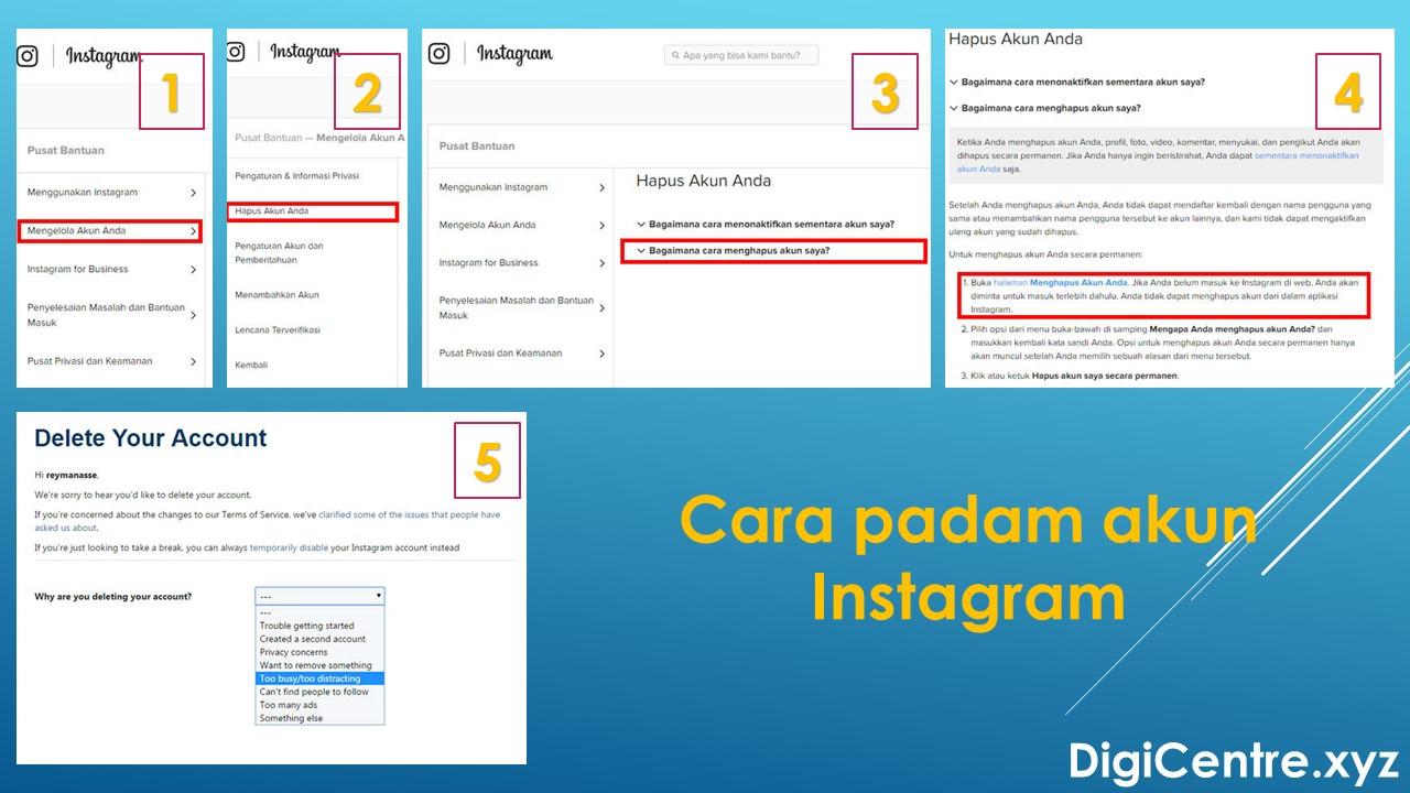 Cara Padam Akaun Instagram