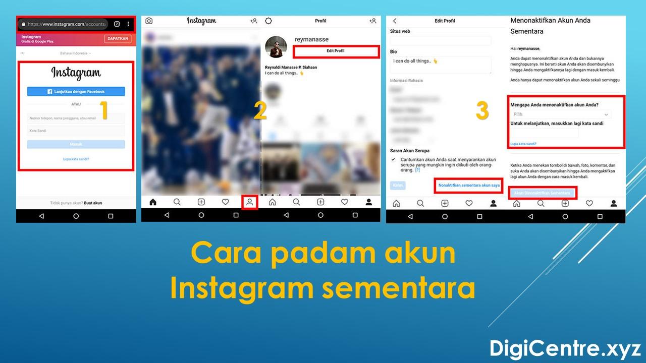 Cara Padam Akun Instagram Sementara