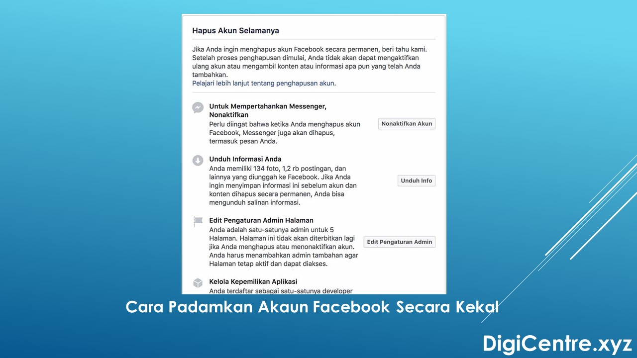 Cara Padamkan Akaun Facebook Secara Kekal