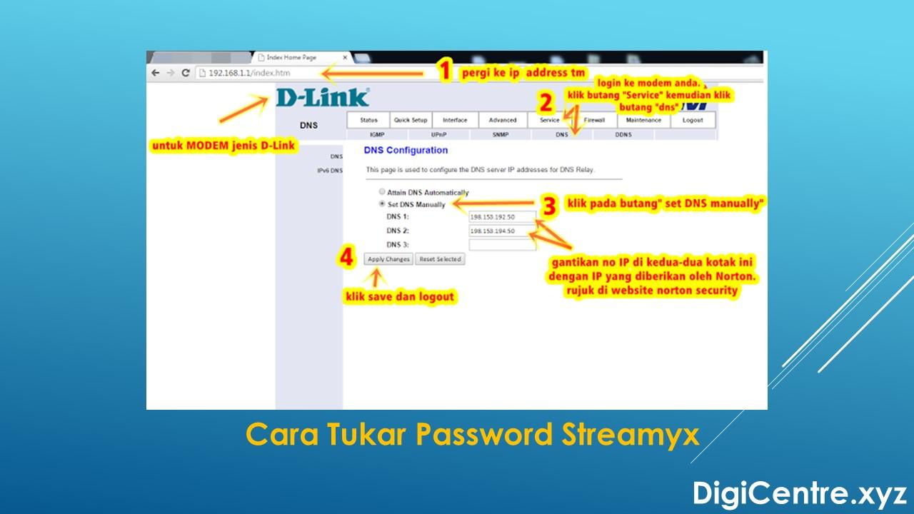 Cara Tukar Password Streamyx