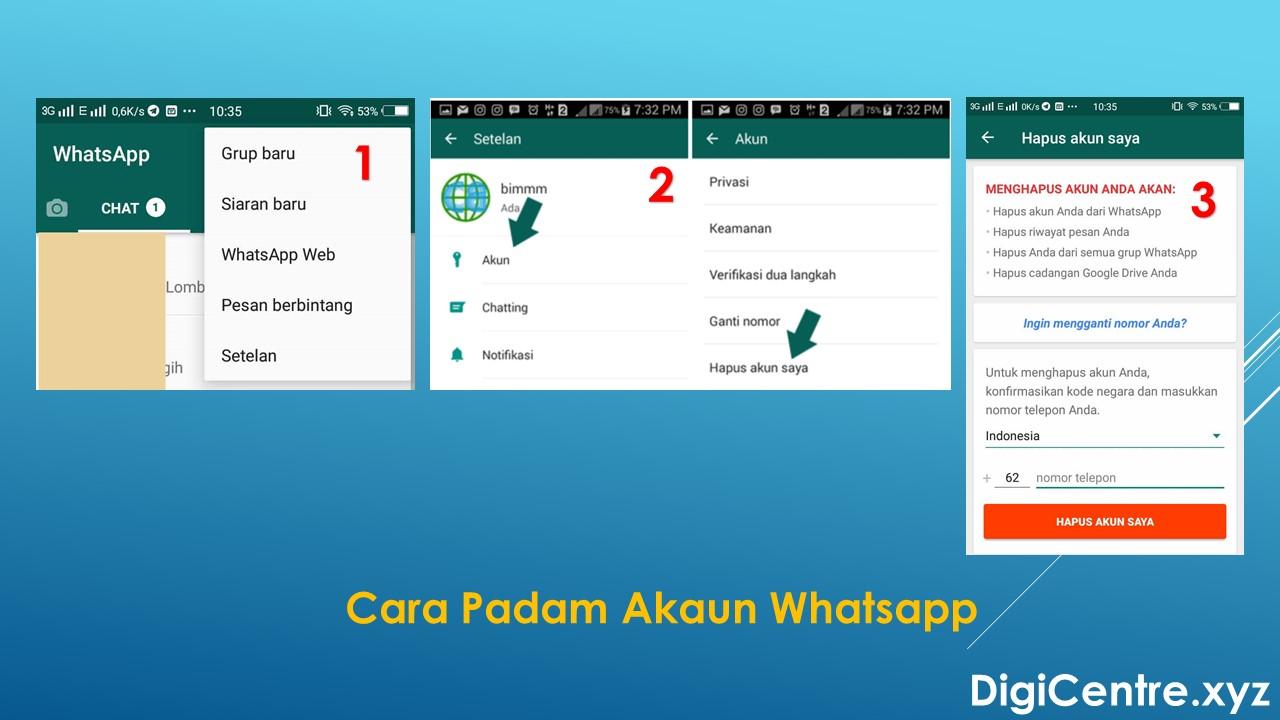 Cara Padam Akaun Whatsapp