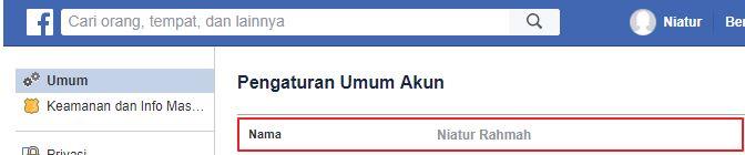 Bagaimana Nak Tukar nama Facebook