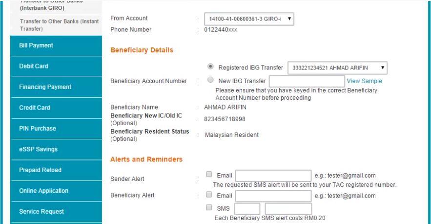 Transfer Duit BSN ke Maybank Online