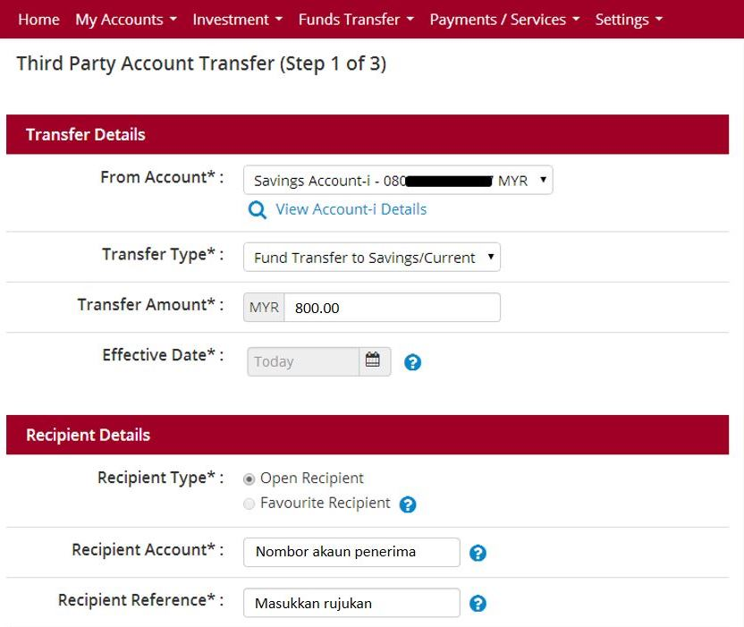 Cara Transfer Duit Bank Islam Online